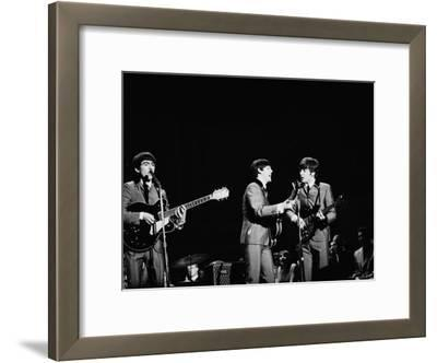 Pop Music Group the Beatles in Concert George Harrison, Paul McCartney, John Lennon