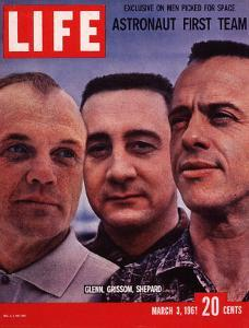 Portrait of Mercury Astronauts John Glenn, Gus Grissom and Alan Shepard, March 3, 1961 by Ralph Morse