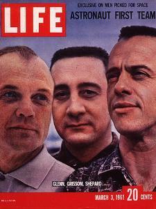Portrait of Mercury Astronauts John Glenn, Gus Grissom and Alan Shepard, March 3, 1961 by Ralph Morse