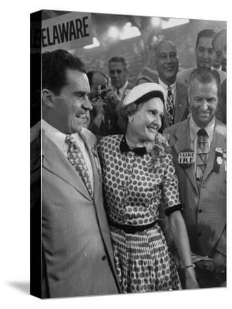 Richard M. Nixon and His Wife, Talking with Photographers During the 1952 Convention