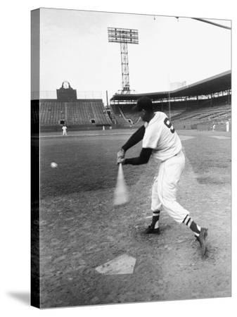 Ted Williams Taking a Swing During Batting Practice