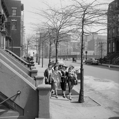 Teenage Girls Walking Down Sidewalk in Brooklyn, NY, 1949