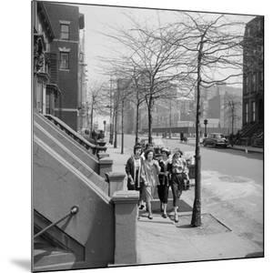 Teenage Girls Walking Down Sidewalk in Brooklyn, NY, 1949 by Ralph Morse
