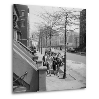 Teenage Girls Walking Down Sidewalk in Brooklyn, NY, 1949