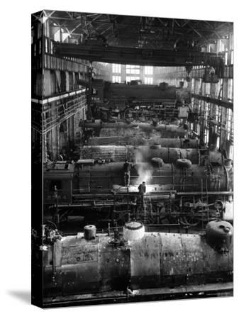Train Engines from the New York Centrail Railroad Being Worked on in Repair Shop