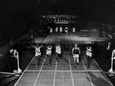 Triple Exposure of Start, Mid and Finish of 60 Yard Dash at Millrose Games