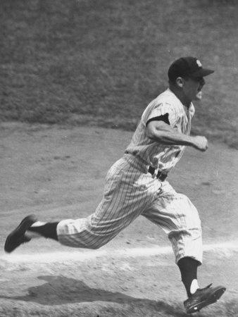 Yankee Mickey Mantle Running for Base During Baseball Game