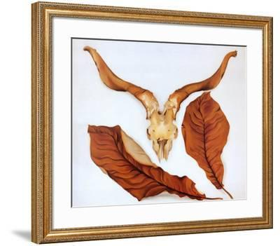 Ram's Skull with Brown Leaves-Georgia O'Keeffe-Framed Art Print