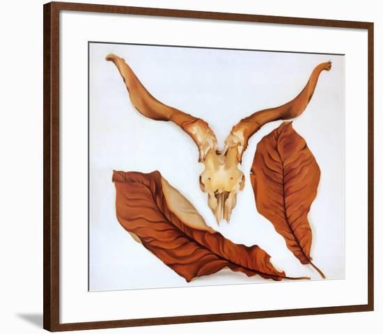 Ram's Skull with Brown Leaves-Georgia O'Keeffe-Framed Art Print