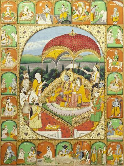 Rama and Sita Enthroned. Mandi, c.1800-1820--Giclee Print