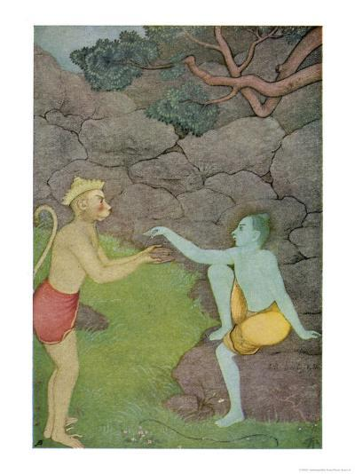 Rama Put His Trust in the Ape Hanuman (Son of the Wind God) to Find His Abducted Wife Sita-K. Venkatappa-Giclee Print
