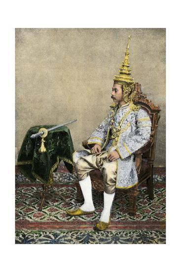 Rama V (Chulalongkorn), King of Siam, in His Royal Attire, Circa 1900--Photographic Print