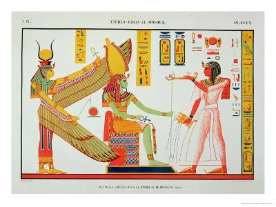 Ramesses IV (1153-1147 BC) Offering Incense to Isis and Amon-Re, Seated on a Throne-Jean Francois Champollion-Giclee Print