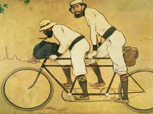 Self Portrait of Casas with Pere Romeu on a Tandem, 1897 (Oil on Panel) by Ramon Casas i Carbo