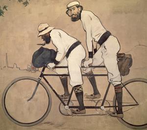 Ramon Casas And Father Romeu Riding a Tandem by Ramon Casas