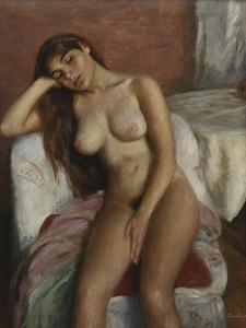 Young Woman Relaxing; Jeune Femme Se Reposant by Ramon Pichot Girones