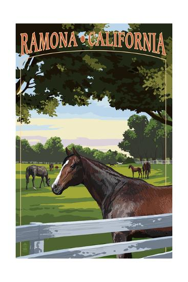 Ramona, California - Horse Pasture-Lantern Press-Art Print