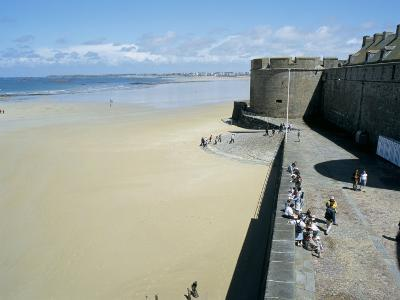 Ramparts of Old Town and Beach to the Northwest of St. Malo, Brittany, France-Richard Ashworth-Photographic Print