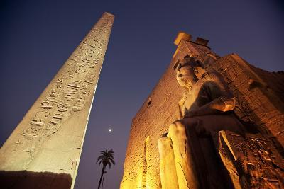 Ramses Statue and Obelisk at the Entrance to the Luxor Temple Complex-Alex Saberi-Photographic Print