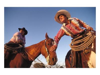 Ranchers with their horses, Horseshoe Working Ranch, Arizona, USA--Art Print