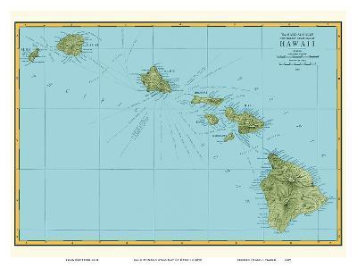 Rand McNally Atlas Map of Hawaii-Pacifica Island Art-Art Print