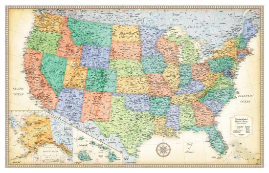 Rand Mcnally Classic United States Map Giant Poster By Artcom - Giant-us-map