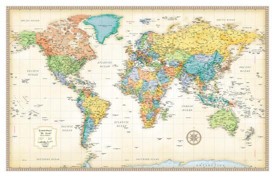 Rand Mcnally Clic World Map Giant Poster by | Art.com on small world map poster, ikea world map poster, giant globe maps, extra large world map poster, world map with countries poster, giant periodic table poster, high resolution world map poster,
