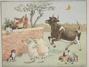 The Cat and the Fiddle, Illustration from 'Hey Diddle Diddle and Bye, Baby Bunting', 1882 by Randolph Caldecott