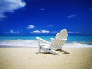 Beach Chair on Empty Beach by Randy Faris