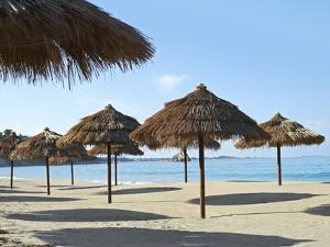 Sunny Beach and Palapas by Randy Faris