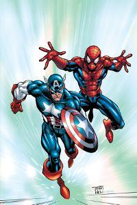 Marvel Age Team Up No.2 Cover: Spider-Man and Captain America Fighting and Flying by Randy Green