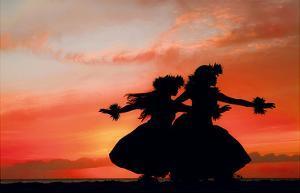Hula Sisters: Hawaiian Hula Dancers at Sunset by Randy Jay Braun
