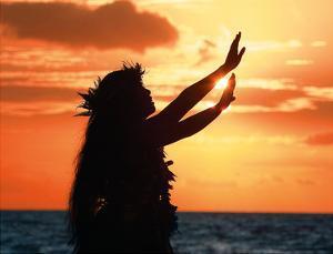 To Ask a Blessing: Hawaiian Hula Dancer at Sunset by Randy Jay Braun
