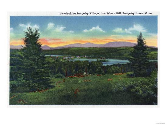 Rangeley Lakes, Maine - Manor Hill Overlooking Rangeley Village Scene-Lantern Press-Art Print