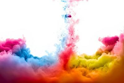 Raoinbow of Acrylic Ink in Water. Color Explosion-Casther-Photographic Print