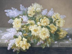 Still Life of Yellow Roses with Lilac by Raoul Victor Maurice Maucherat de Longpre