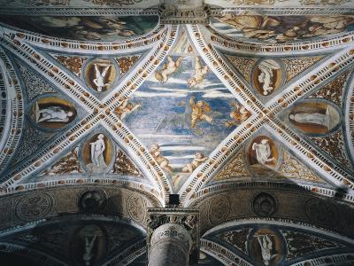Rape of Ganymede and Putti, Mosaic Niches and Statues-Girolamo Romanino-Giclee Print