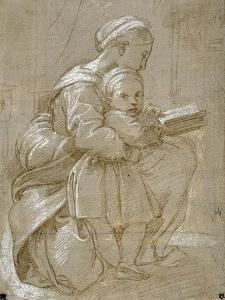 A Woman Seated on a Chair Reading, with a Child Standing by Her Side by Raphael