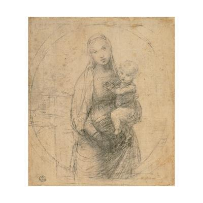 Drawing, Madonna and Child at two thirds figure