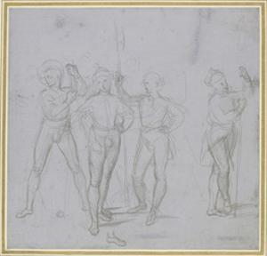 Group of Four Standing Soldiers (Silverpoint on a Blue-Grey Preparation on Off-White Paper) by Raphael