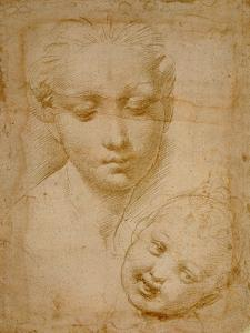 Heads of the Virgin and Child, 1508-1510, Silverpoint on Orange-Pink Paper by Raphael