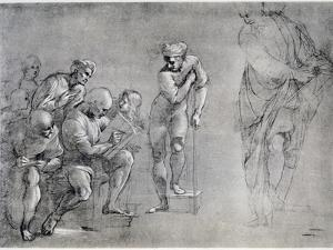 Pythagoras (580-500 B), Drawing for the 'School of Athens, 16th Century by Raphael