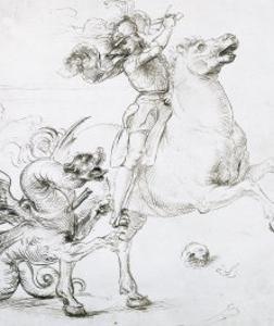 St. George and the Dragon, Drawing, Gabinetto Dei Disegni E Delle Stampe, Uffizi Gallery by Raphael