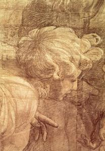 The School of Athens, Detail of the Cartoon of a Young Man's Head, circa 1510 by Raphael