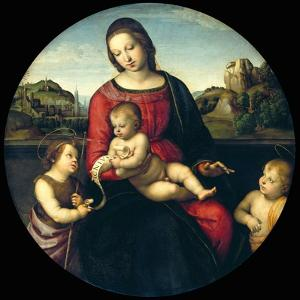 Tondo of the Virgin and Child with John the Baptist and a Holy Boy (The Madonna Terrranuova) by Raphael