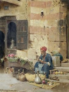 The Flower Seller, 1891 by Raphael Von Ambros