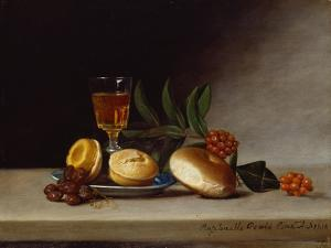 Still Life with a Wine Glass, 1818 (Oil on Panel) by Raphaelle Peale