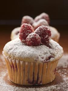 Raspberry Muffins with Icing Sugar