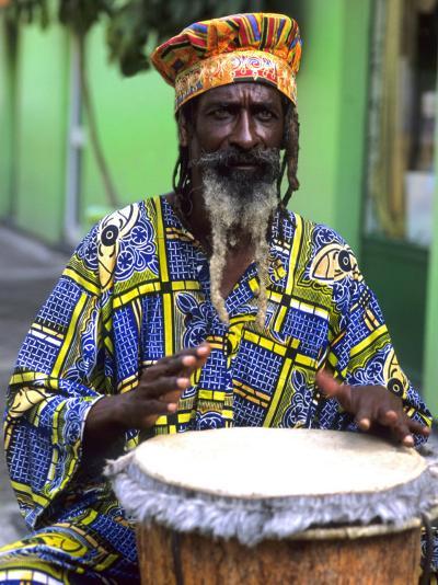 Rasta Jamaican Reggae Performer, St. John, Antigua-Bill Bachmann-Photographic Print