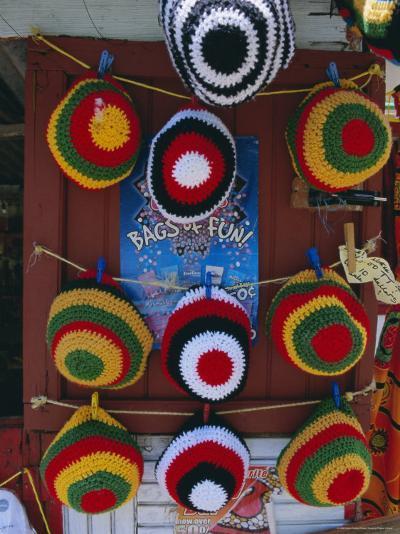 Rasta (Rastafarian) Hats on Display, Tobago, Trinidad and Tobago, West Indies, Caribbean-Gavin Hellier-Photographic Print